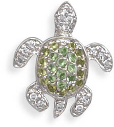 Rhodium Plated CZ Turtle Slide 925 Sterling Silver