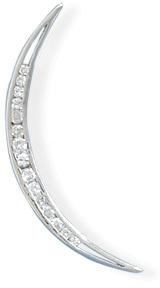 Rhodium Plated Crescent Moon CZ Slide 925 Sterling Silver - DISCONTINUED