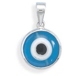 Rhodium Plated Evil Eye Pendant 925 Sterling Silver