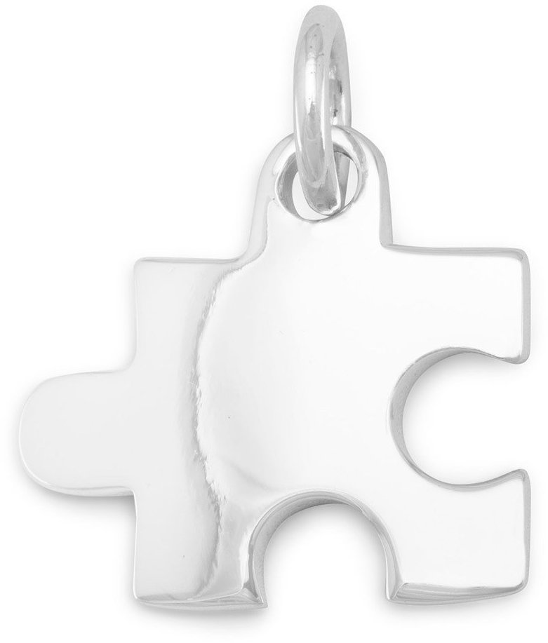 Rhodium Plated Puzzle Piece Pendant 925 Sterling Silver