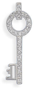 Rhodium Plated CZ Key Slide 925 Sterling Silver