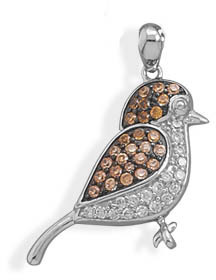 Rhodium Plated CZ Bird Pendant 925 Sterling Silver