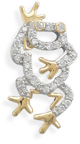 Rhodium and 14 Karat Gold Plated CZ Frog Slide 925 Sterling Silver