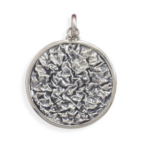 Crinkle Look Pendant 925 Sterling Silver- DISCONTINUED