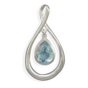 Pear Shape Pendant with Blue Topaz Drop 925 Sterling Silver - DISCONTINUED