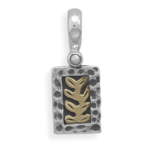 Two Tone Pendant with Fern Design 925 Sterling Silver - DISCONTINUED