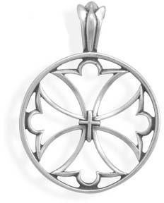 Cut Out Maltese Cross Pendant 925 Sterling Silver