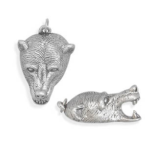Oxidized Bear Head Pendant 925 Sterling Silver - DISCONTINUED