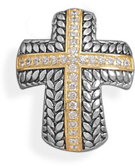 Two Tone Domed Cross Slide 925 Sterling Silver