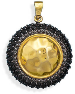 14 Karat Gold Plated Pendant with Black CZ 925 Sterling Silver