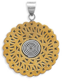 Two Tone Patterned Pendant 925 Sterling Silver