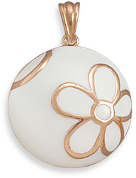 White Enamel and 14 Karat Rose Gold Plated Pendant 925 Sterling Silver - DISCONTINUED