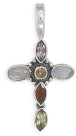 Small Multistone Cross Pendant 925 Sterling Silver - DISCONTINUED