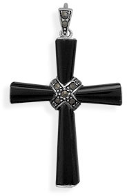 "Black Onyx Cross with Marcasite ""X"" Pendant 925 Sterling Silver"