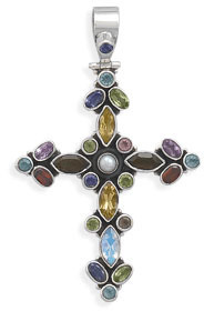 Multicolor Stone Cross Hinged Pendant 925 Sterling Silver