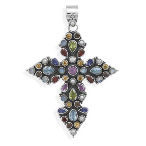 Oxidized Multicolor Stone Cross Pendant 925 Sterling Silver- DISCONTINUED