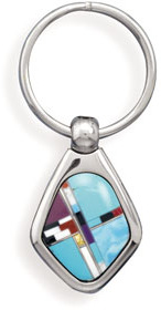 316L Stainless steel key ring with multicolor inlay imitation stones