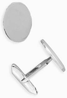 Oval Engraveable Cuff Links 925 Sterling Silver