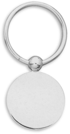 Round Key Ring with Round Engravable Disc 925 Sterling Silver