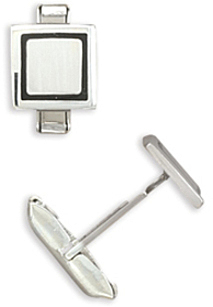 Square Enamel Rim Cuff Links 925 Sterling Silver