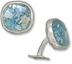 Ancient Roman Glass Cuff Links 925 Sterling Silver