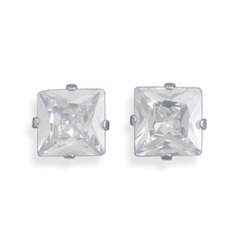 Stainless Steel CZ Stud Earrings- DISCONTINUED