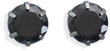 "Stainless Steel 7mm (2/7"") Black CZ Stud Earrings"