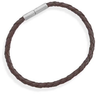 "8"" Braided Brown Leather Bracelet with Stainless Steel Closure"