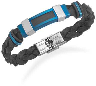 "8.5"" Black Leather Bracelet with Polished and Blue Matte Stainless Steel Accents"