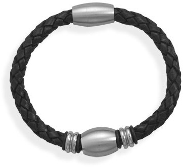 "8"" Black Leather Bracelet with 3 Stainless Steel Beads"