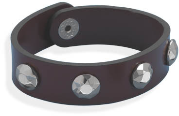 "8"" Leather Bracelet with Tungsten Carbide Studs"