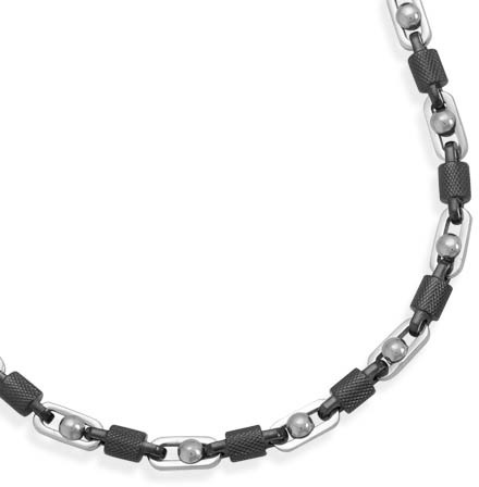 "22"" Alternating Stainless Steel and Textured Barrel Link Necklace"