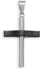 Polished and Black Stainless Steel Cross Pendant