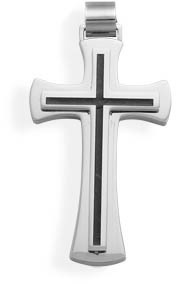 Black Inlay Stainless Steel Cross Pendant