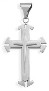 Polished and Matte Stainless Steel Triple Cross Pendant Design