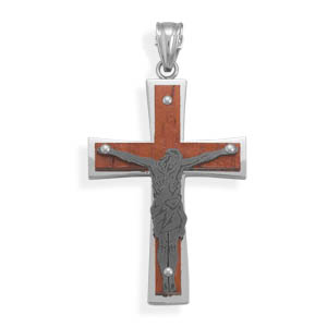 Wood and Stainless Steel Crucifix Pendant - DISCONTINUED