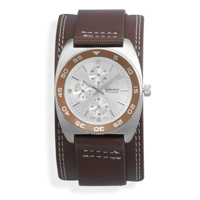 "6.5""-8.5"" Brown Leather Band with Round Face Men's Fashion Watch - DISCONTINUED"
