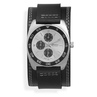 "6.5""-8.5"" Black Leather Band with Round Face Men's Fashion Watch - DISCONTINUED"