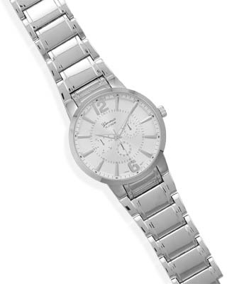 Men's Silver Tone Fashion Watch with Large Round Face