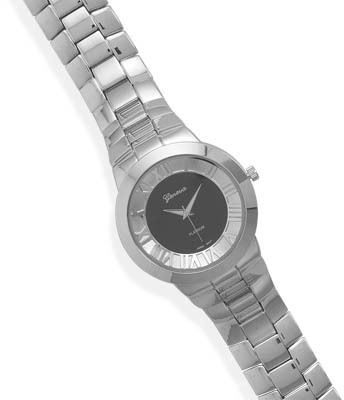 Men's Black and Silver Tone Fashion Watch