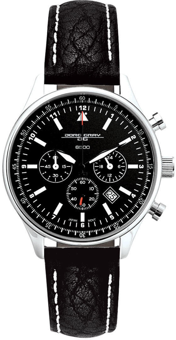 Jorg Gray JG6500-21 Unisex Chronograph Watch Black Dial w/ Black Leather Strap