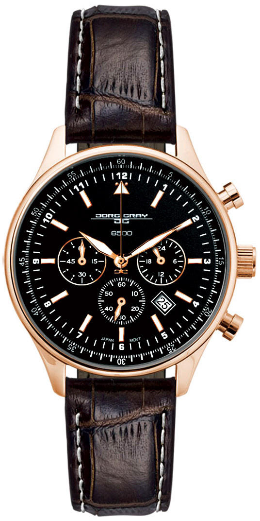 Jorg Gray JG6500-22 Unisex Chronograph Watch Black Dial w/ Brown Leather Strap