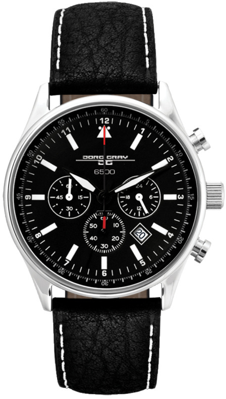 Jorg Gray Non-Commemorative Edition JG6500NC Mens Chronograph Watch Black Dial w/ Black Leather Strap