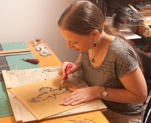Katherine Grey working in her studio