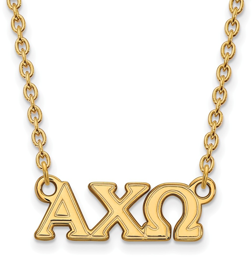 Gold plated sterling silver alpha chi omega medium pendant for Is gold plated jewelry worth anything