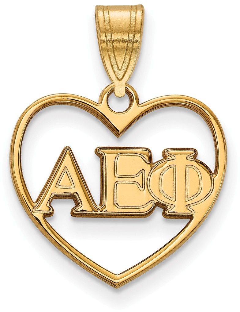 Gold Plated Sterling Silver Alpha Epsilon Phi Heart Pendant by LogoArt GP008AEP