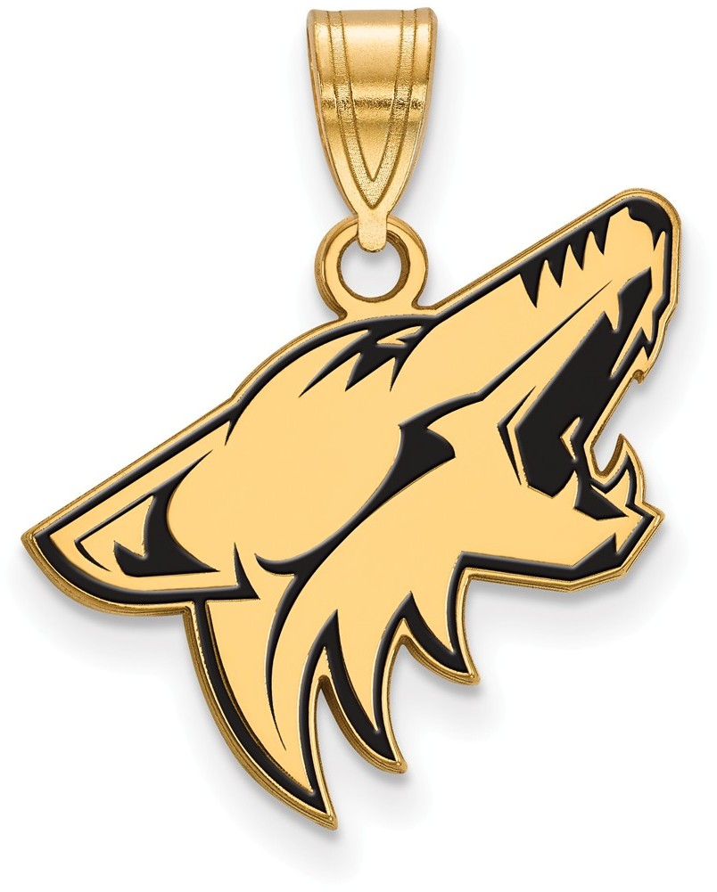 Gold Plated Sterling Silver NHL Phoenix Coyotes Large Enamel Pendant by LogoArt