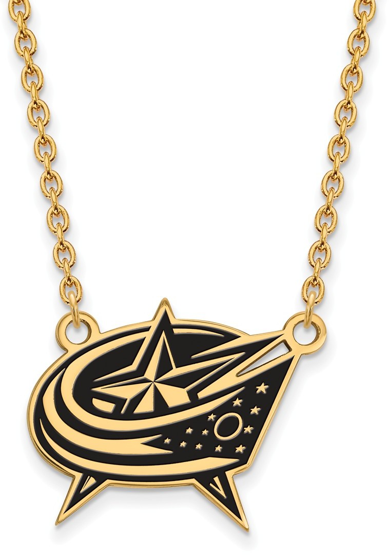 "18"" Gold Plated 925 Silver NHL Columbus Blue Jackets Enamel Pendant Necklace LogoArt"