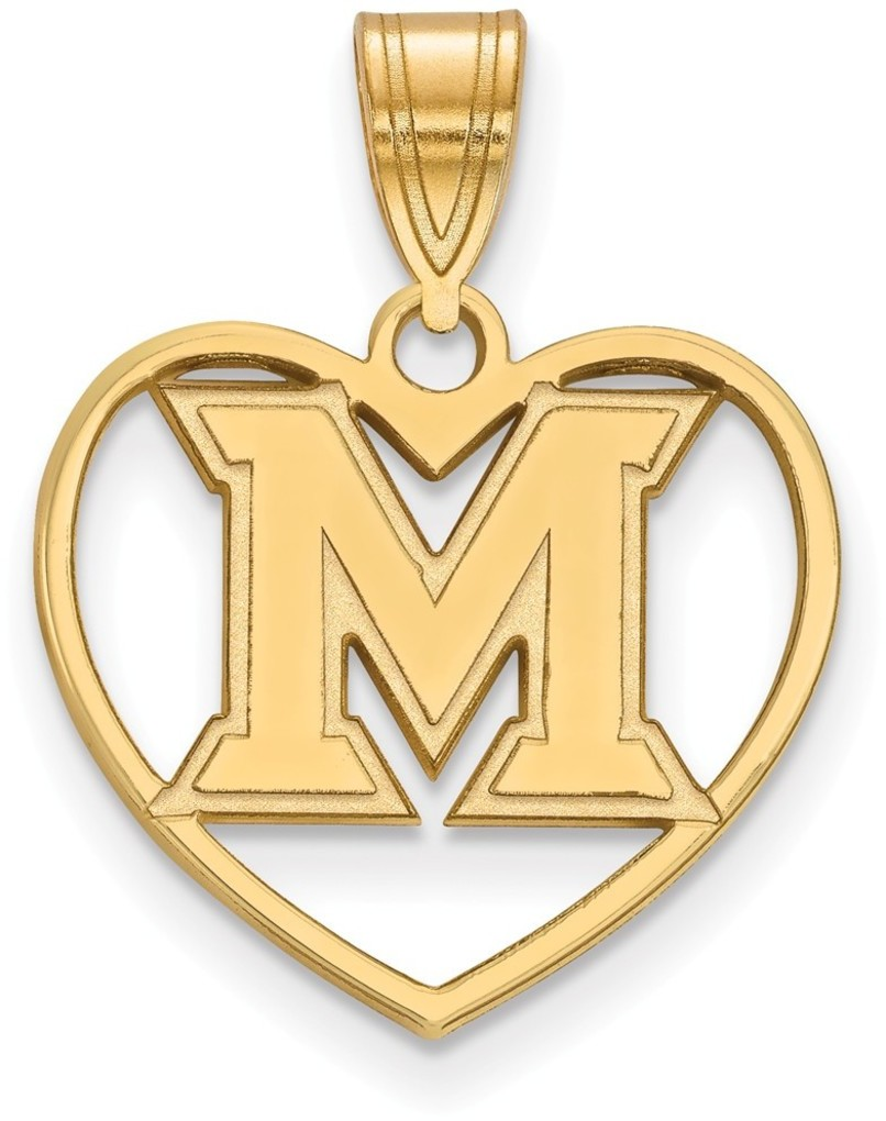 Gold plated sterling silver miami university pendant in for Is gold plated jewelry worth anything