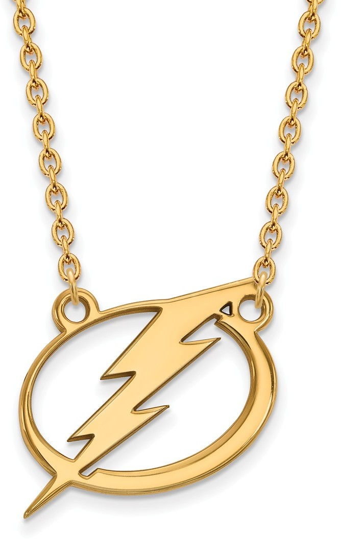 Gold Plated 925 Silver NHL Tampa Bay Lightning Large Pendant Necklace by LogoArt